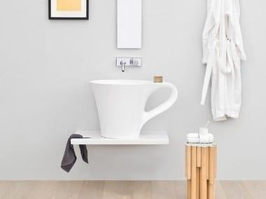 Vasque à poser en céramique avec porte-serviettes CUP | Vasque à poser