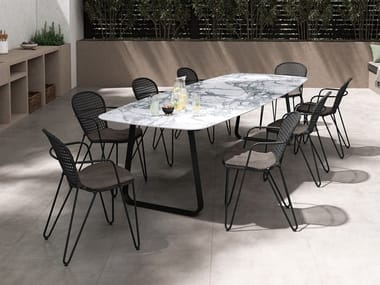 Rectangular table with Xeramica® or Matilux® top CURVE | Table
