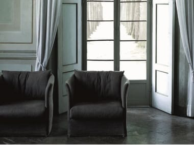 Armchair with removable cover with armrests CURVE