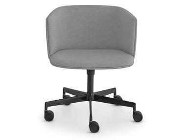 Cadeira estofada de 5 raios de tecido com rodízios CUT | Cadeira de 5 raios