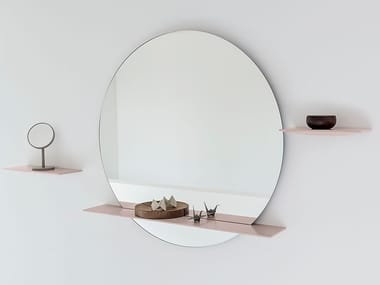 Round wall-mounted mirror with shelf CUT | Mirror