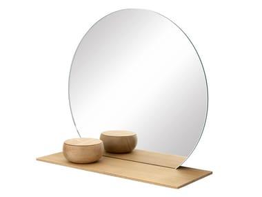 Specchio rotondo con mensola da parete CUT | Specchio