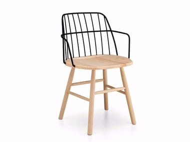 Steel and wood chair with armrests STRIKE P | Chair with armrests