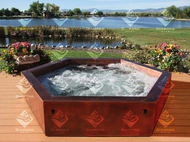 Minipiscina hexagonal de libre colocación para exterior Copper Hot Tub