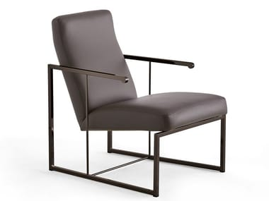 Leather armchair with removable cover DADA