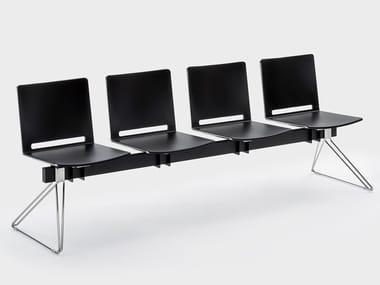 Cadeiras em barra de plástico para fixação ao chão DAISY | Cadeiras em barra