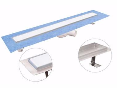 Canale e griglia in acciaio inox e vetro per doccia DAKUA+ GLASS-B