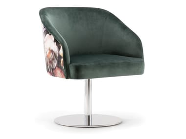 Swivel upholstered fabric chair with armrests DALLAS