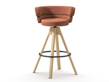 High fabric stool with 4-spoke base with footrest DAM ST-4WL