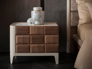 Rectangular wooden bedside table with drawers DAMA | Bedside table
