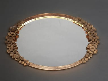 Oval framed wall-mounted wrought iron mirror DAMA