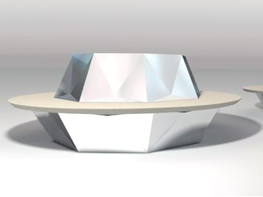Round Bench with Integrated Planter with back DAMANTE