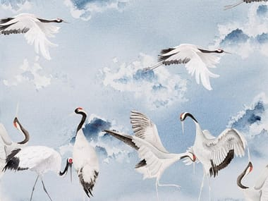 Carta da parati orientale PVC free, eco-friendly, lavabile DANCING CRANES