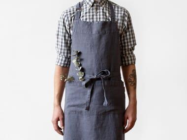 Washed linen chef apron DARK GREY | Kitchen apron
