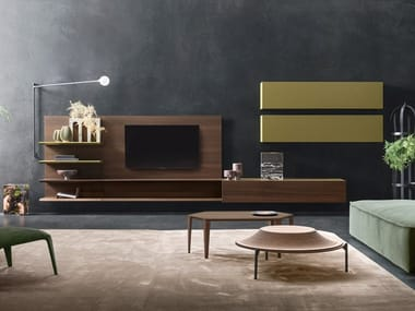 Sectional oak TV wall system DAY MOOVE | Composition M107