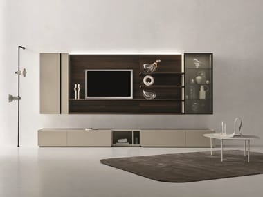 Sectional oak TV wall system DAY MOOVE | Composition M109