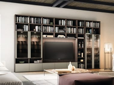 Wall-mounted bookcase with drawers with TV stand DAY SYSTEM 02