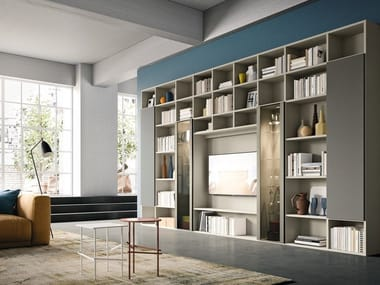 Contemporary style wall-mounted wooden bookcase with built-in lights with TV stand DAY SYSTEM 03