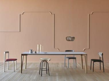 Extending rectangular aluminium dining table DECAPO