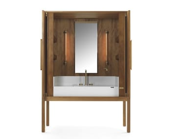 Kauri wood vanity unit with doors DEKAURI | Kauri wood vanity unit