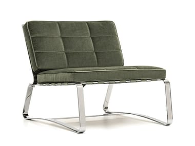Sled base tufted fabric armchair DELAUNAY QUILT | Fabric armchair