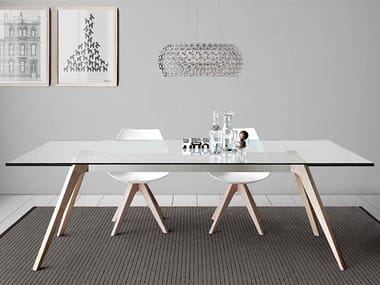 Extending rectangular wood and glass table DELTA