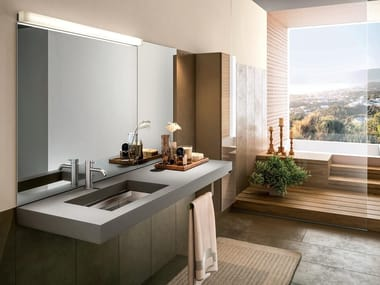 Fenix-NTM® washbasin with integrated countertop DEPTH FENIX