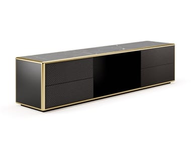 Lacquered TV cabinet with marble top and leather drawers DESIRÈ