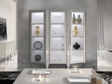 Sectional lacquered wooden display cabinet with integrated lighting DESIRE | Display cabinet