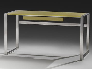 Glass and steel writing desk with drawers DESK | Glass writing desk