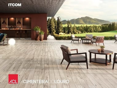 Floating ceramic outdoor floor tiles with wood effect DEX
