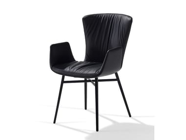 Leather chair with armrests DEXTER | Chair