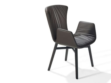 Leather chair with armrests DEXTER | Chair with armrests