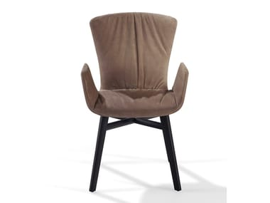 Nabuk chair with armrests DEXTER | Nabuk chair