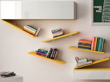 Wooden wall shelf DIAGOLINEA | Wall shelf