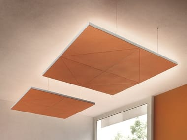 Felt hanging acoustic panel with Integrated Lighting DIAMANTE | Hanging acoustic panel