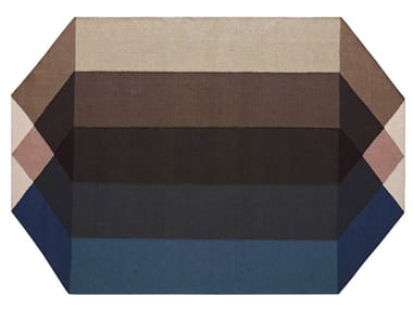 Recycled PET rug with geometric shapes DIAMOND BLUE-BROWN