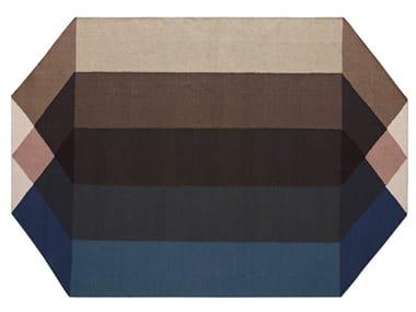 Tappeto in PET riciclato a motivi geometrici DIAMOND BLUE-BROWN