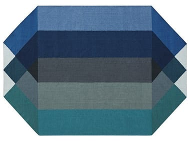 Recycled PET rug with geometric shapes DIAMOND BLUE-GREEN