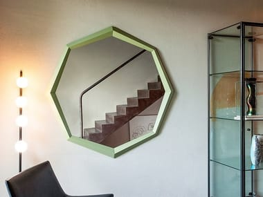 Contemporary style framed wall-mounted round wooden mirror DIAMOND