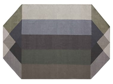 Recycled PET rug with geometric shapes DIAMOND GREEN-GREY
