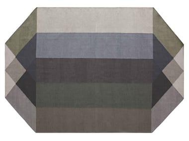 Tappeto in PET riciclato a motivi geometrici DIAMOND GREEN-GREY