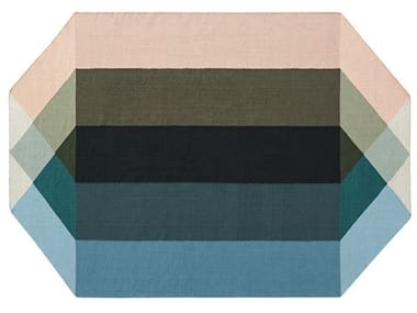 Recycled PET rug with geometric shapes DIAMOND NUDE-PETROL