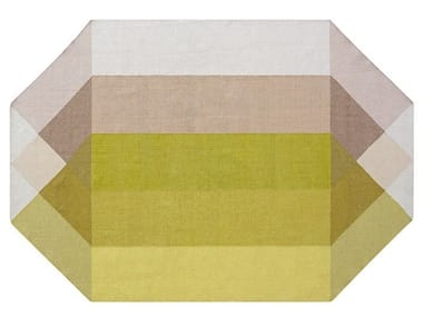 Recycled PET rug with geometric shapes DIAMOND PINK-YELLOW
