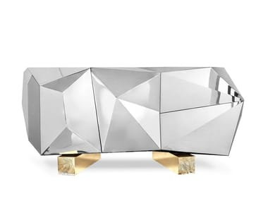 Stainless steel sideboard with doors DIAMOND PYRITE
