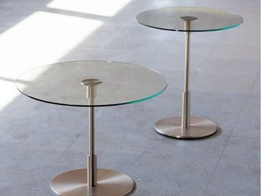 Round nickel and glass coffee table DIANA | Coffee table