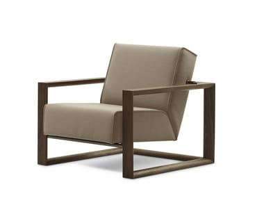 Sled base upholstered armchair with armrests DICKENS