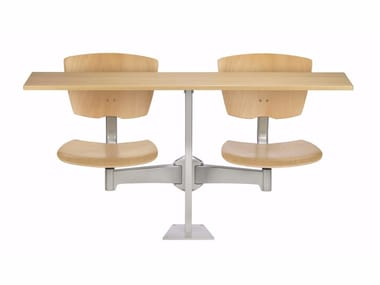 Modular MDF study table with integrated chairs DIDAKTA SLIM D10
