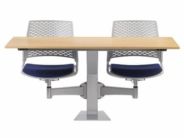 Modular MDF study table with integrated chairs DIDAKTA SQUARE D 20