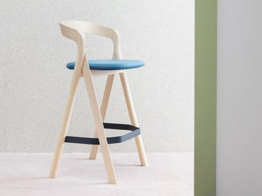 High wooden stool with footrest DIVERGE | Stool